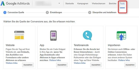 Screenshot: Conversion-Tracking ein AdWords einbauen