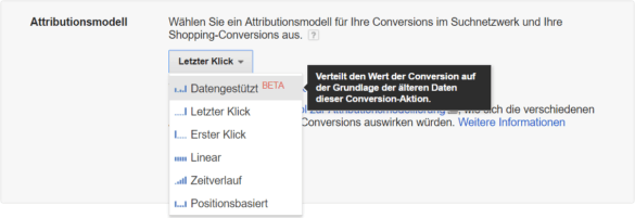 Screeenshot: Umstellung der Attributionsmodelle