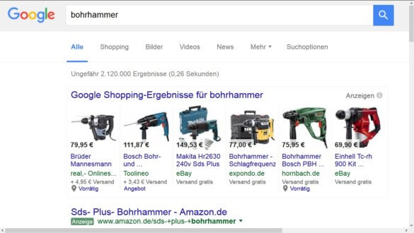 Screenshot: SERPs mit Google Shopping