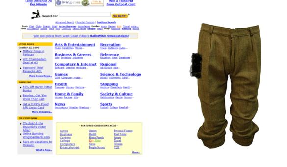Screenshot: Lycos 1999 und eine hässliche Hose