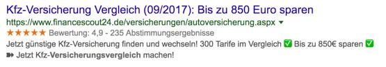 """Screenshot: Gutes Beispiel zu """"Versicherungsvergleich"""""""