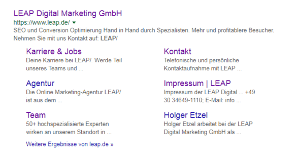 Screenshot: SERP Snippet von LEAP