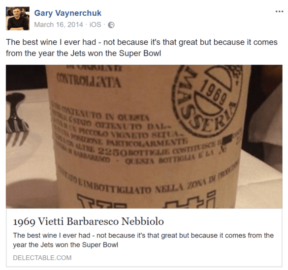 Screenshot: Ein facebook-Post von Gary Vaynerchuk