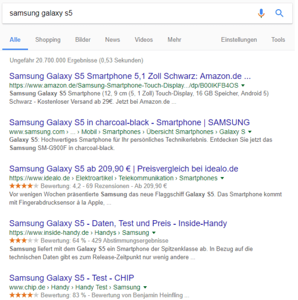 Screenshot: Die SERPs für Samsung Galaxy