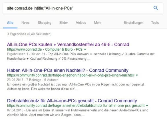 Screenshot: Site-Abfrage zum Plural von All-in-One PC