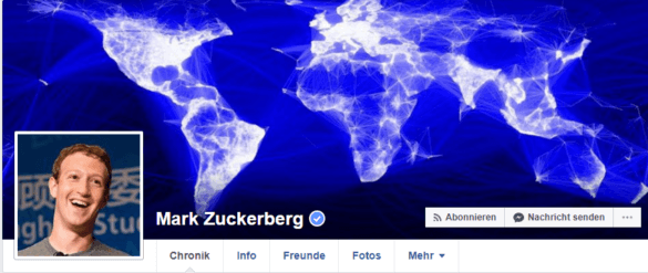 Screenshot: Profil von Mark Zuckerberg bei Facebook