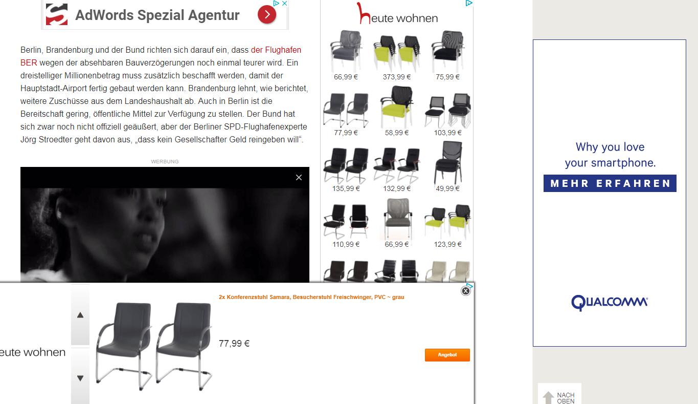 Screenshot: Mehr Banner als Content