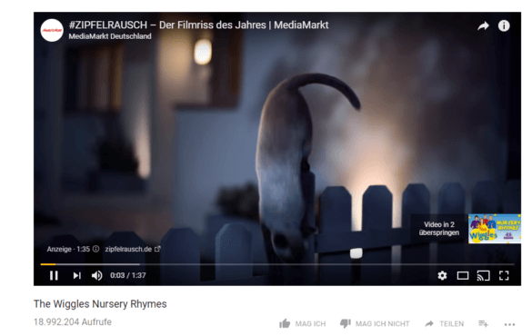 Screenshot: Werbung bei YouTube