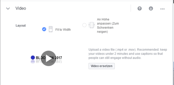 Screenshot: Video konfigurieren