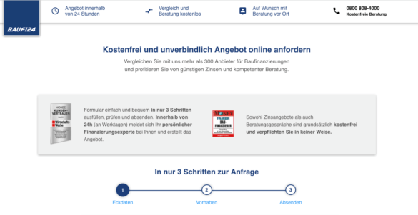 Screenshot: Ein Funnel ohne Navigation