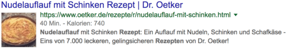 Screenshot: Rich Snippet Rezept