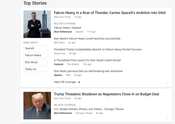 Screenshot:Google News