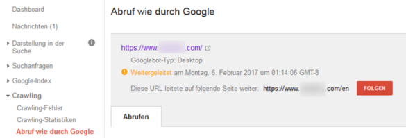 Screenshot: Fehler in Search Console