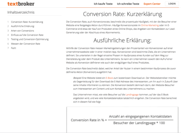 Screnshot: Erklärung der Conversion-Rate