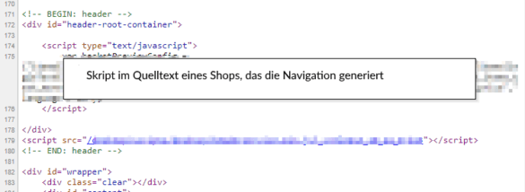 Screenshot: Problematische Navigation