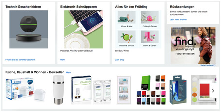 Screenshot: Amazon-Startseite