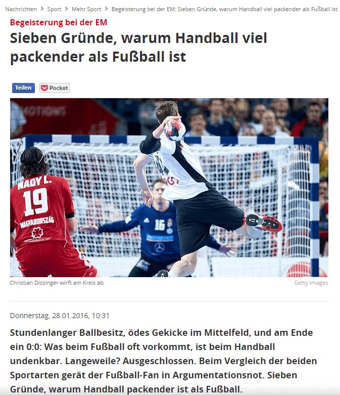 Sieben Gründe, warum Handball viel packender als Fußball ist