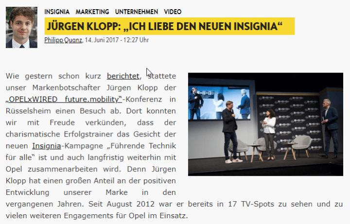 """Jürgen Klopp: """"Ich liebe den Insignia"""""""