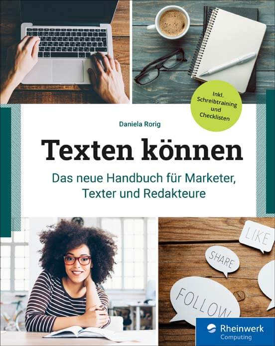 """Cover """"Texten können"""" (Rheinwerk Verlag, 2019)"""